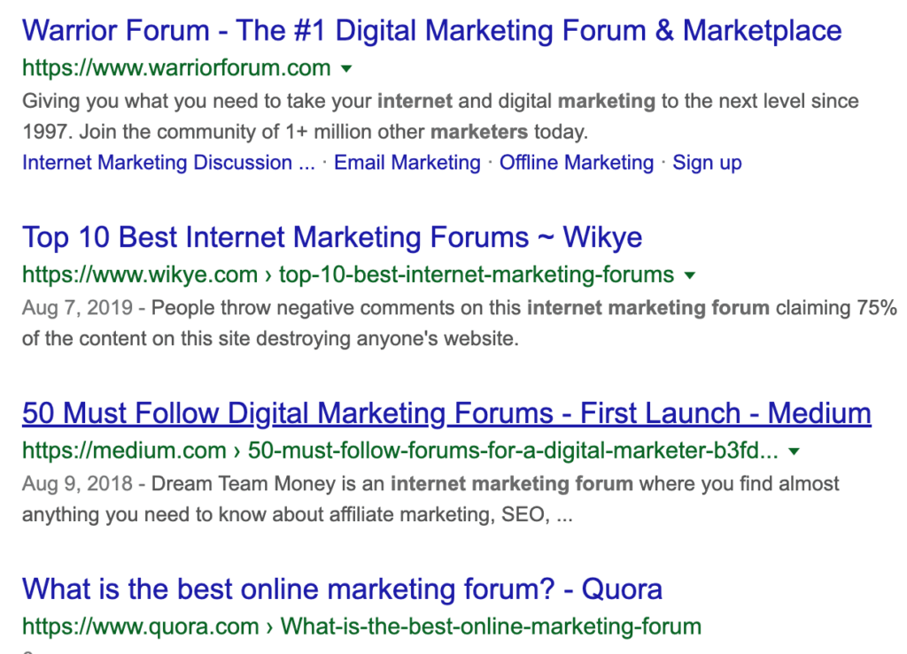 Google Search on Internet Marketing Forums