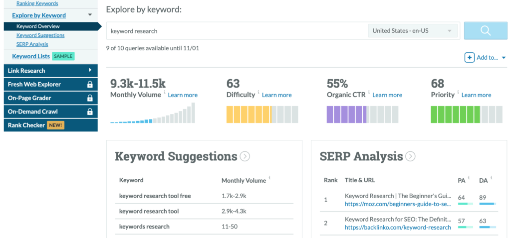 Keyword Explorer from Moz