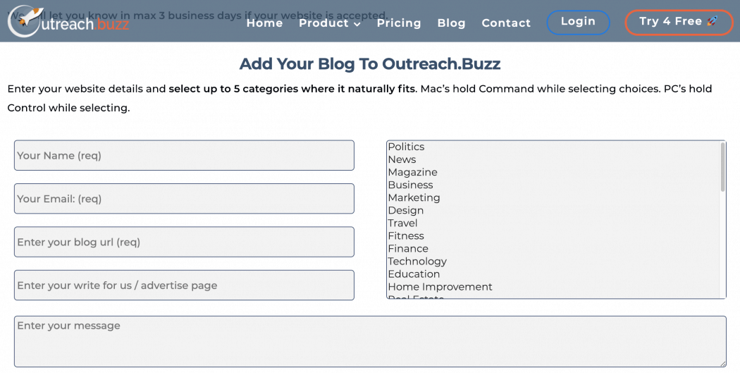 Add your Blog to Outreach.Buzz