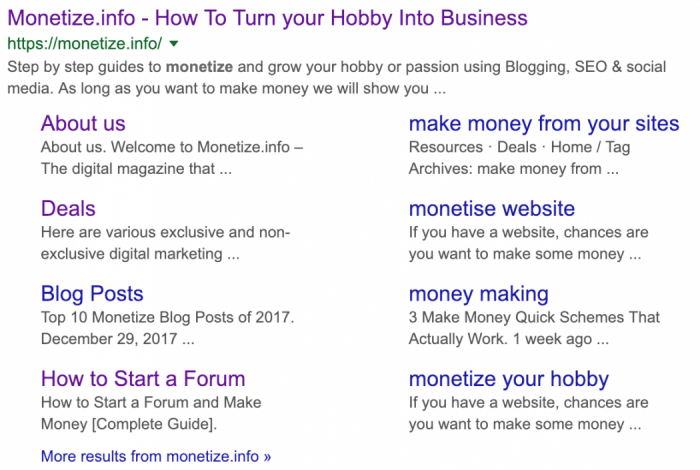 Monetize.info Site Links