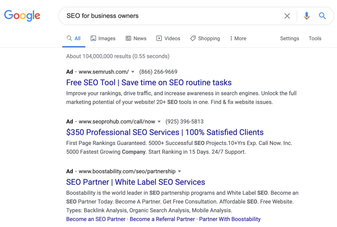Google Search Results - SEO for business owners