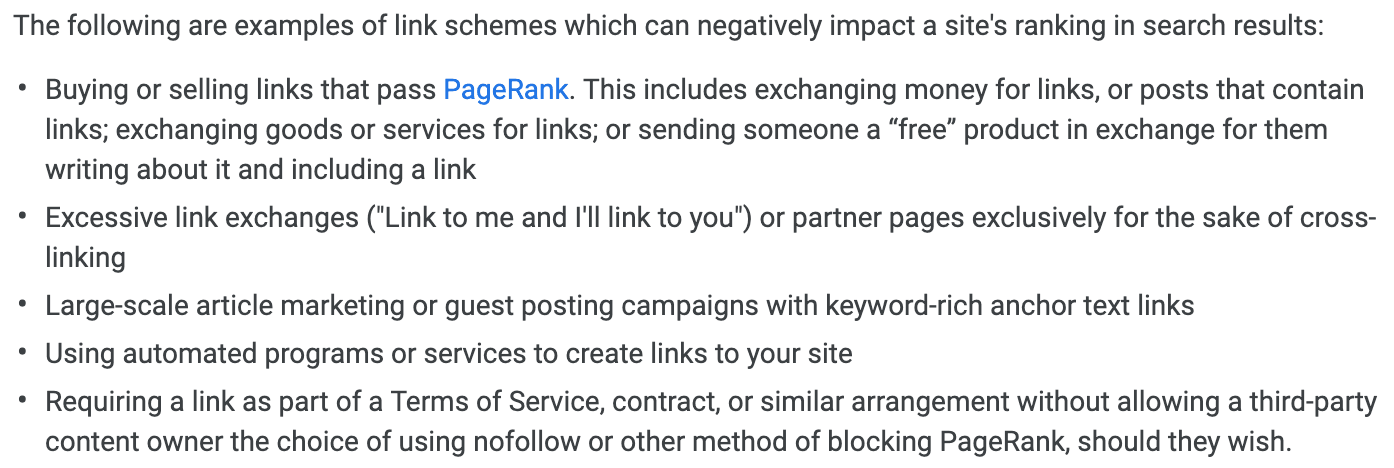 Google Guidelines about Backlinks and Link Schemes