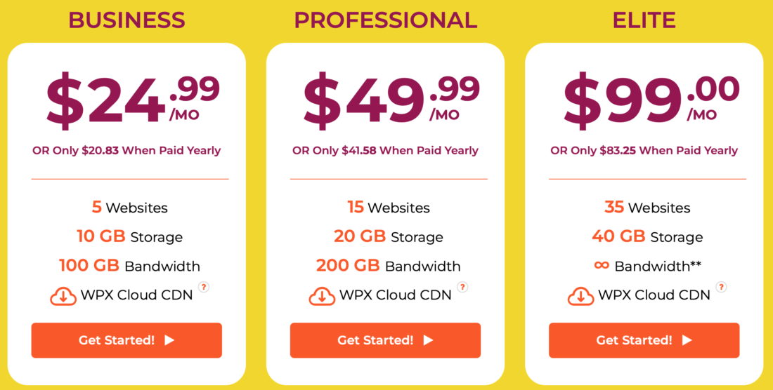 WPX Hosting Pricing Plans