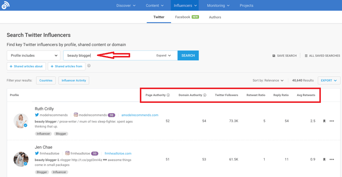 Use BuzzSumo to find influencers in your niche
