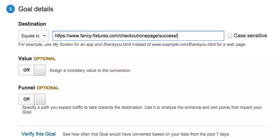 Google Analytics Goals - Checkout Success Url