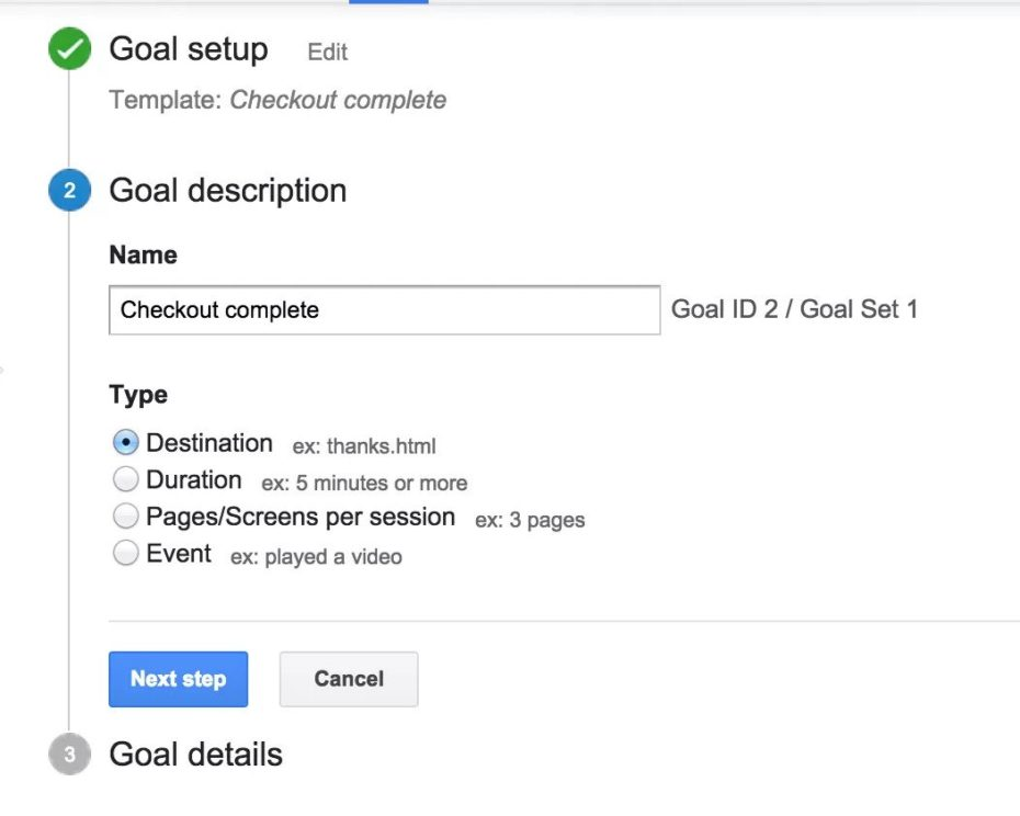 Google Analytics Goals - Describe your goal