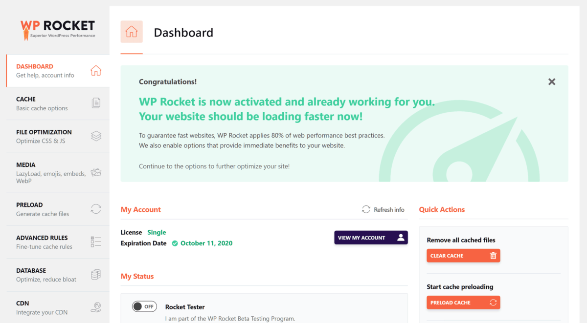 WP-Rocket Dashboard Overview
