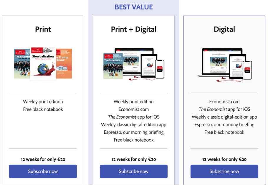 Pricing Example on Economist website
