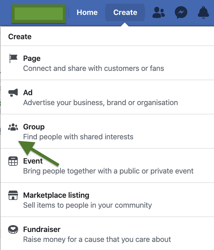 How to create a Facebook Group - Click Create and Select Group