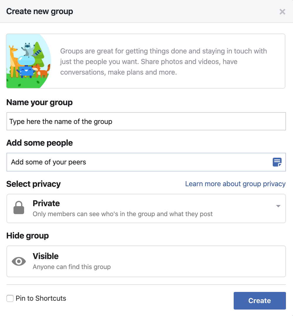 How to create a Facebook Group - Type Group Name and Select Privacy