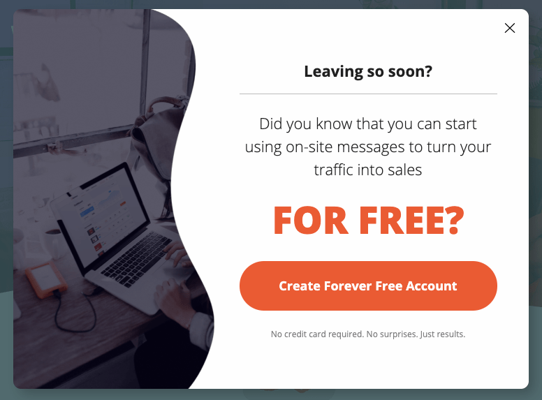 OptiMonk - Create a forever free account offer