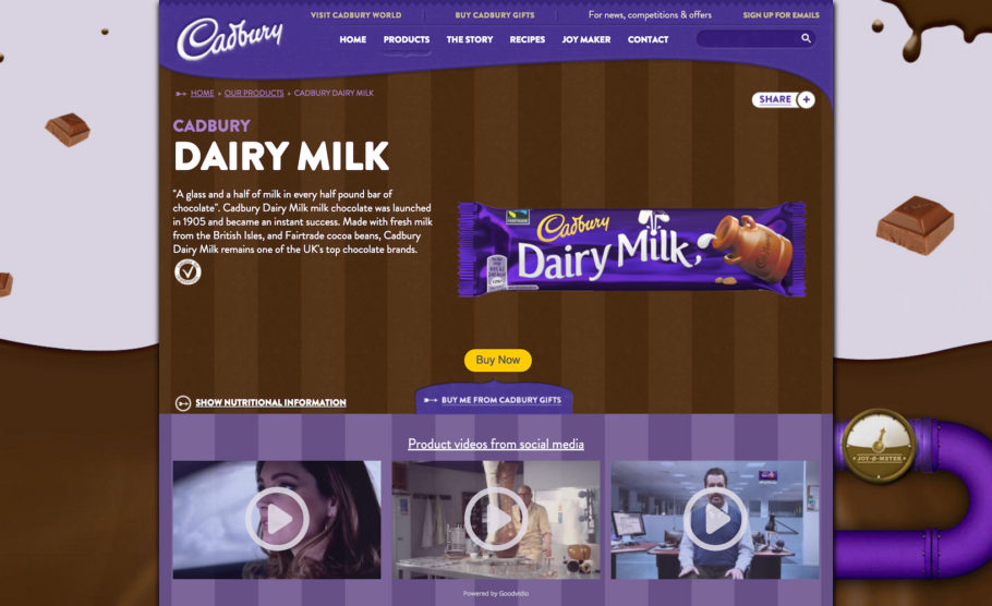 Highly engaging video gallery on a product page on Cadbury.co.uk