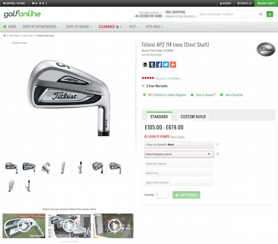 Curated video gallery with expert product reviews from social media on Golfonline.co.uk