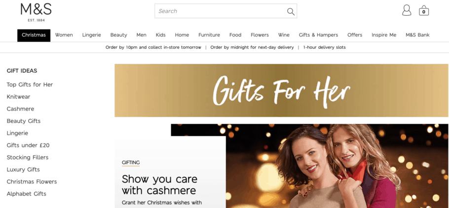 Marks & Spencer page displaying exclusive holiday gifts