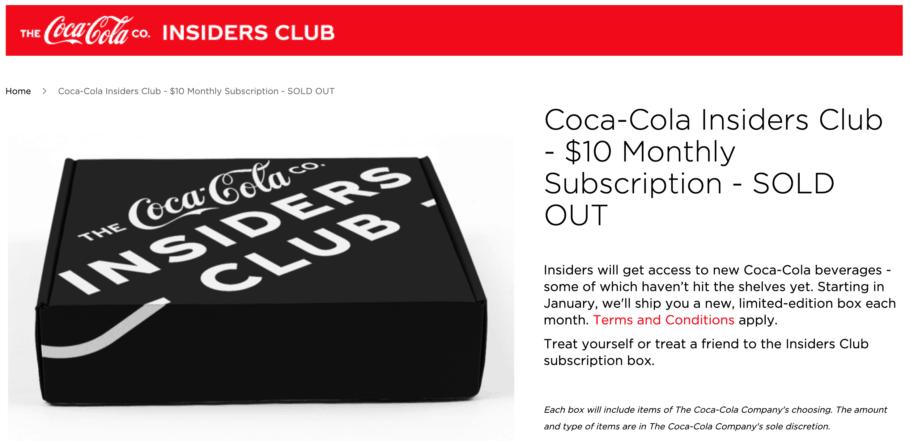 Coca-Cola Insiders Club Subscription Service