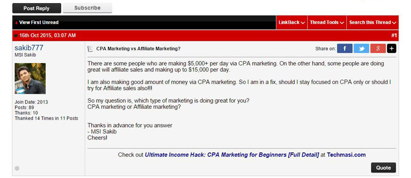 CPA offer traffic from forum