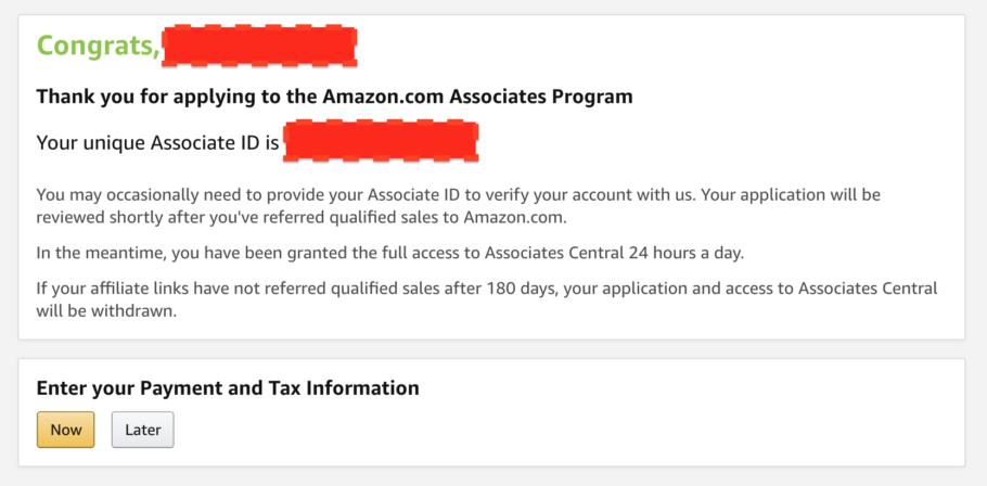 Amazon Associates Account Created