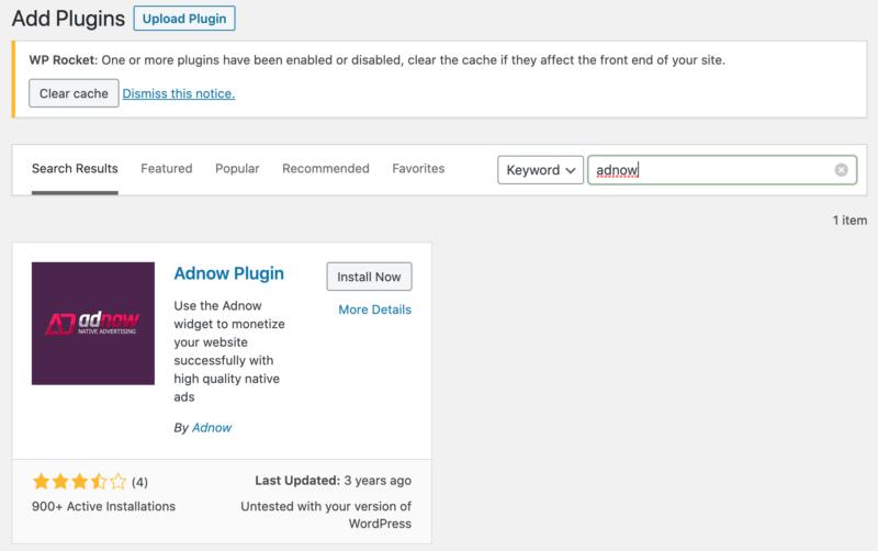 AdNow WordPress Plugin