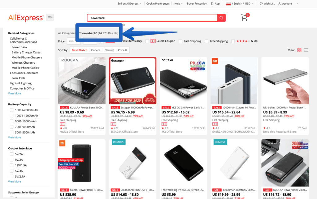 AliExpress Search for the word: power bank