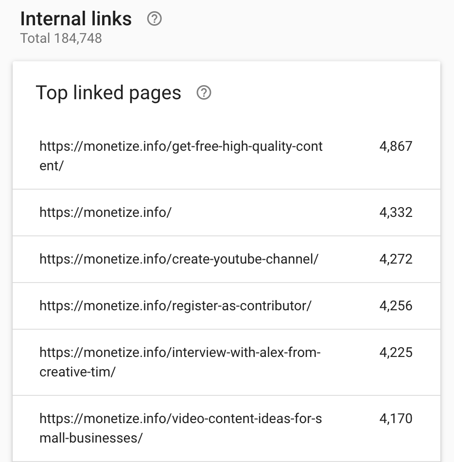 Internal links of Monetize.info report from Google Search Console