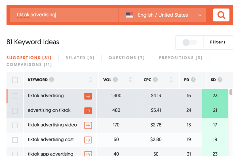 Getting keyword ideas and search volume in NeilPatel's app