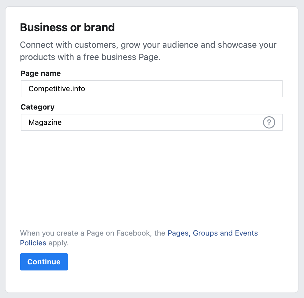 Facebook Page: Choose the name and the category