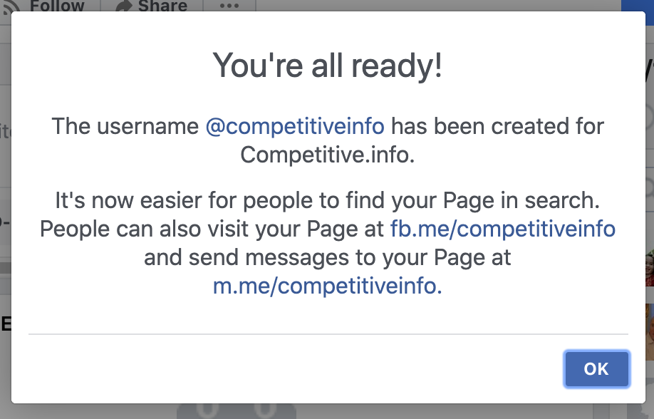 Facebook Page - Username success