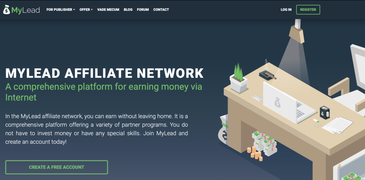 The homepage of MyLead Affiliate Network