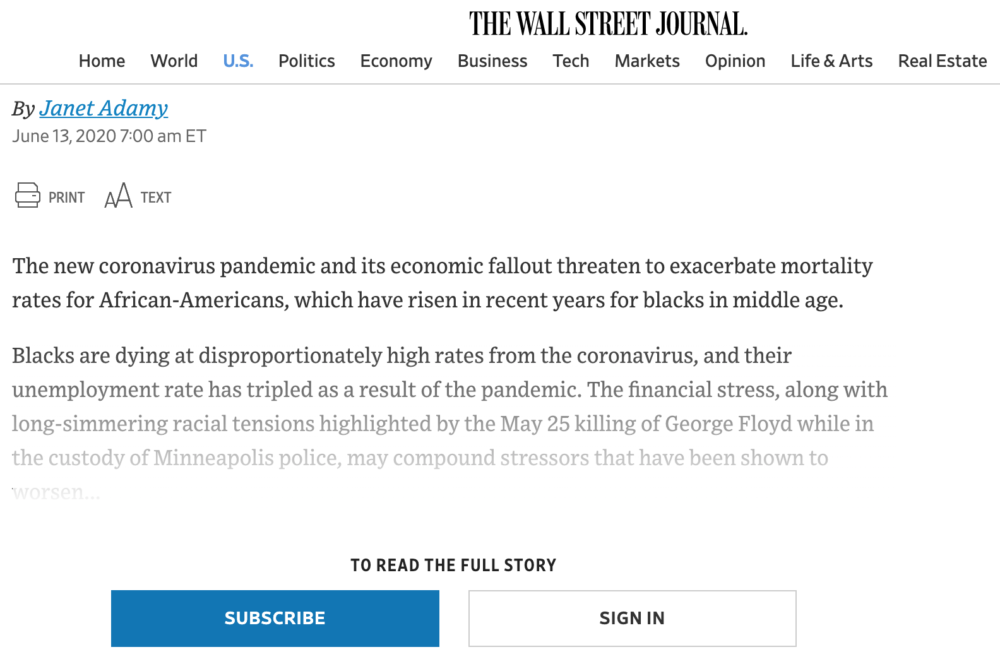 WallStreet Journal paywall example