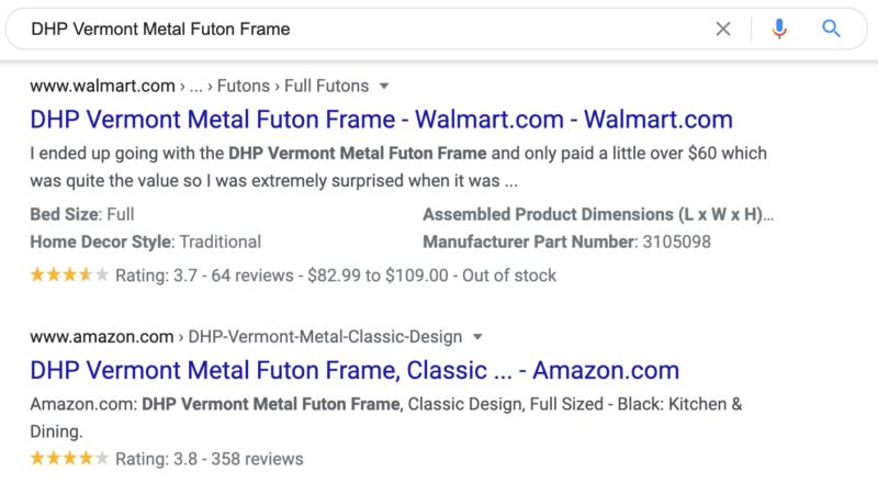 E-commerce SERP features - Reviews