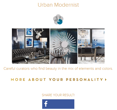 Z Gallerie's style Quiz Share Social Media