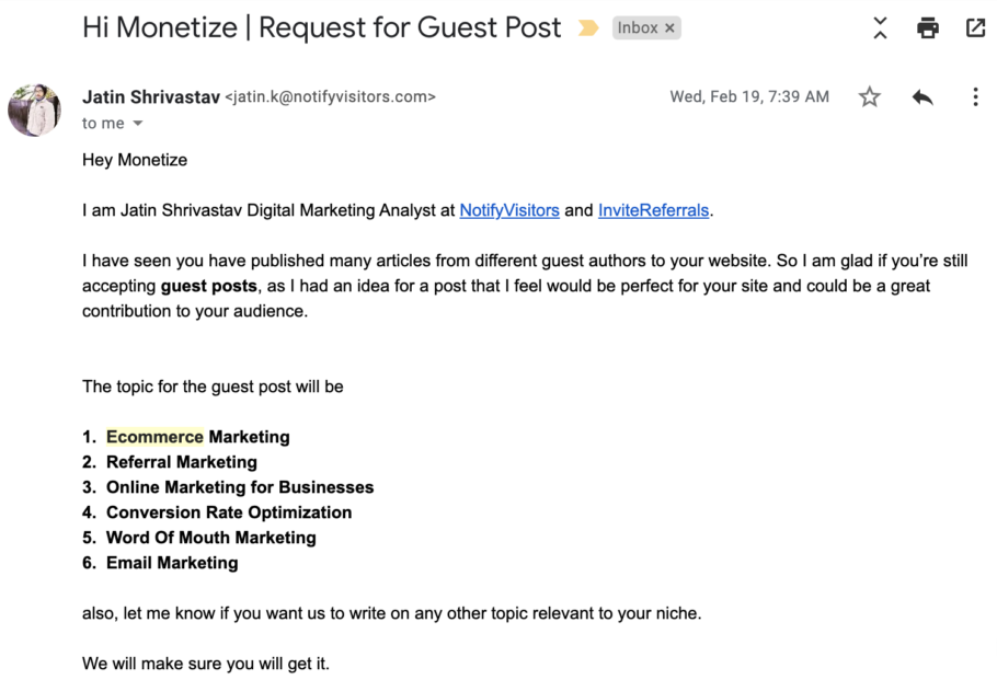 Guest Post Request Example