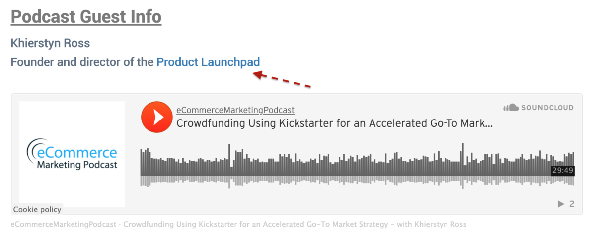 Get a backlink from a Podcast Episode page