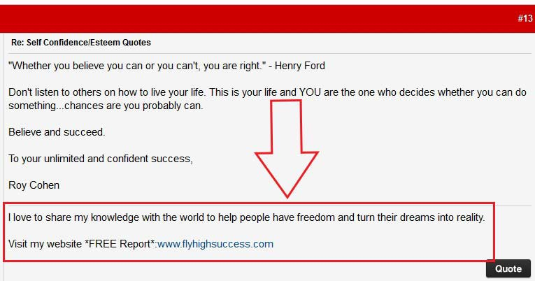 Get backlinks using a forum signature