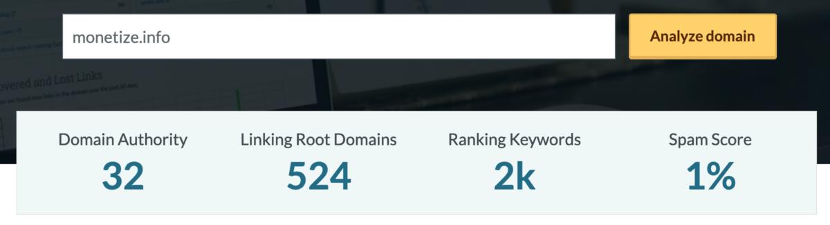 Get the DA of a site using Moz.com