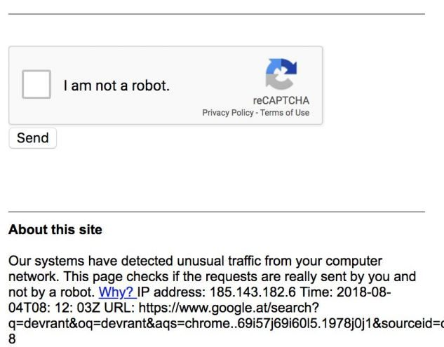 Google reCaptcha displayed on multiple searches