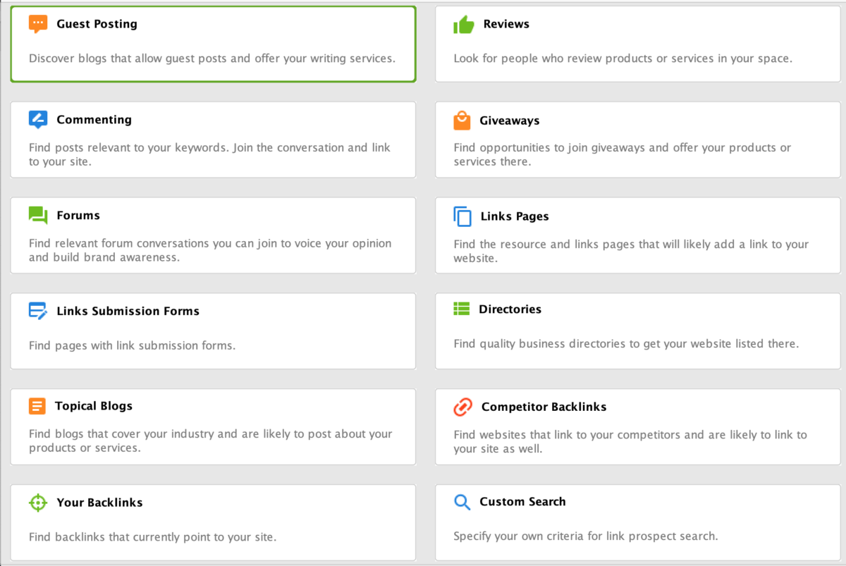 Link Assistant - Search Prospects Methods
