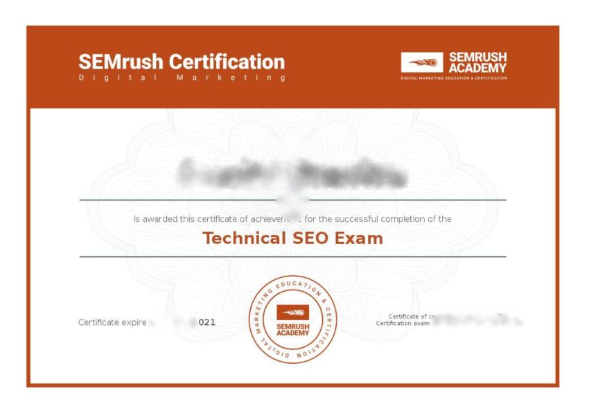 Technical SEO Exam - SEMrush Academy Certificate