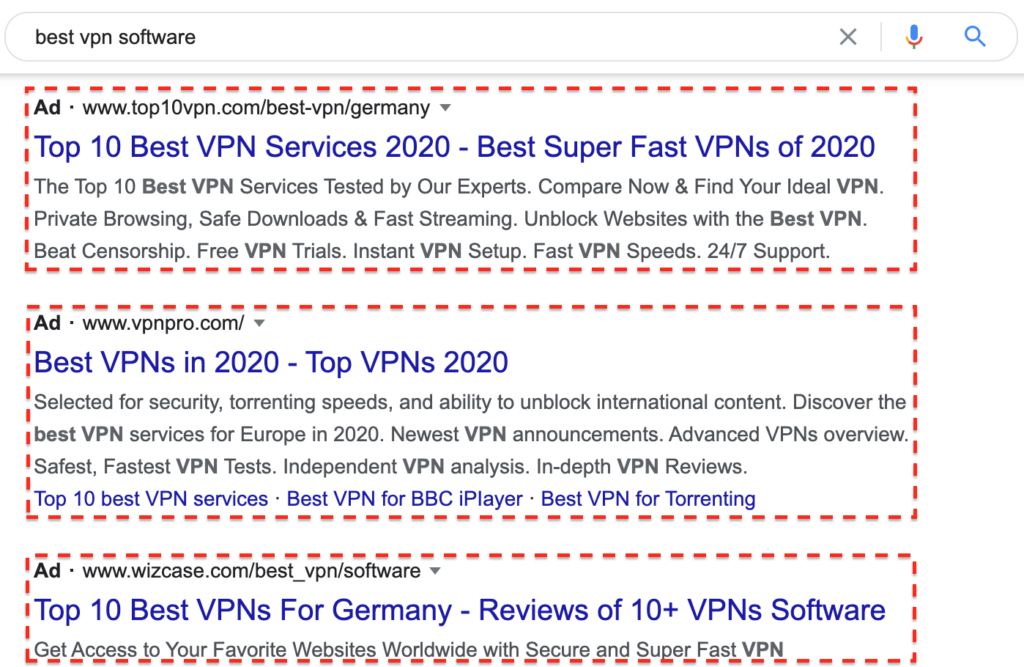 """Google Ads for """"best vpn software"""" search"""