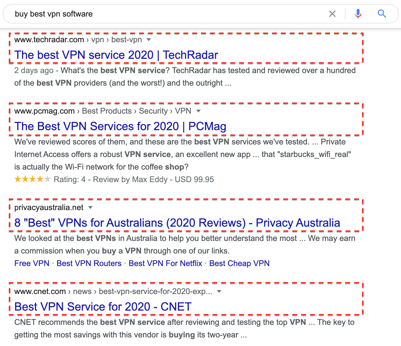 "Google search for ""buy best vpn software"" from an Australian IP"