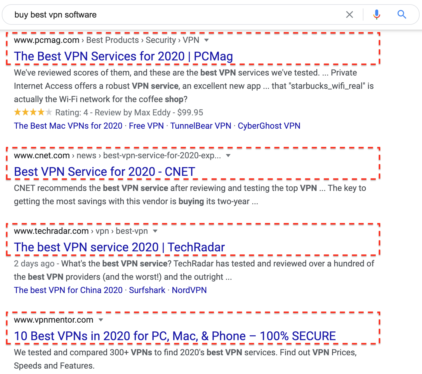 """Google search for """"buy best vpn software"""" from a US IP"""