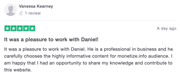 Review for Daniel - Monetization consultant