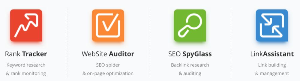 SEO Power Suite Tools: Rank Tracker, Website Auditor, SEO SpyGlass, LinkAssistant
