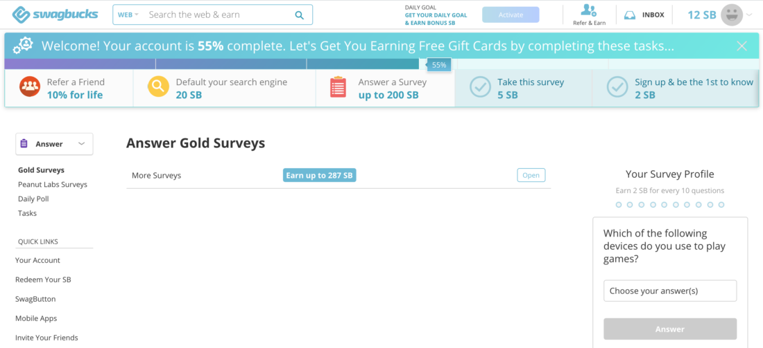 SwagBucks - Best Paying Survey Sites