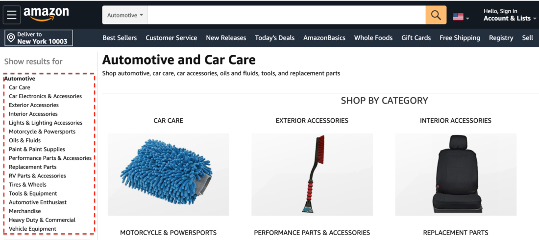 Amazon Automotive Category of Products