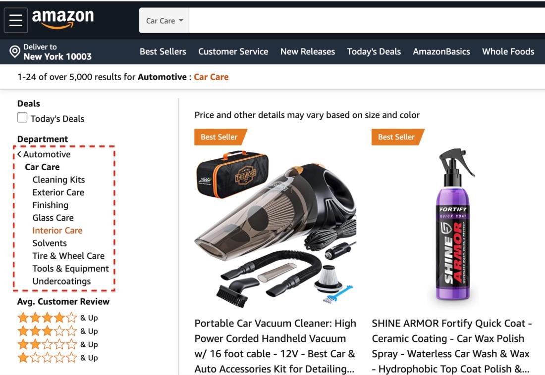 Amazon automotive subcategories