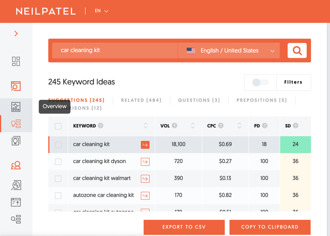 Neil Patel's app for Keyword Research
