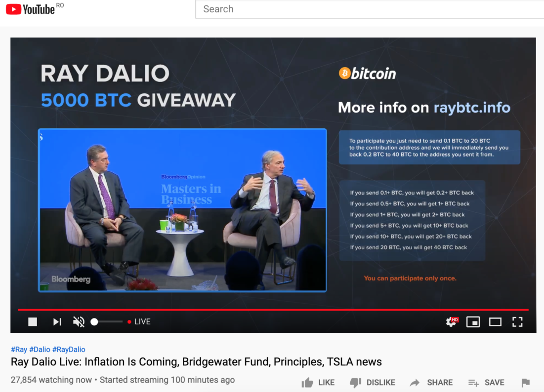 Cryptocurrencies Scam Using Ray Dalio's name
