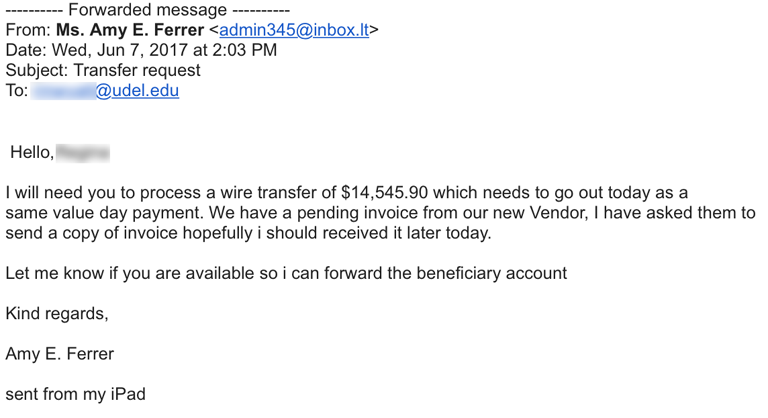 Wire transfer Fraud Example