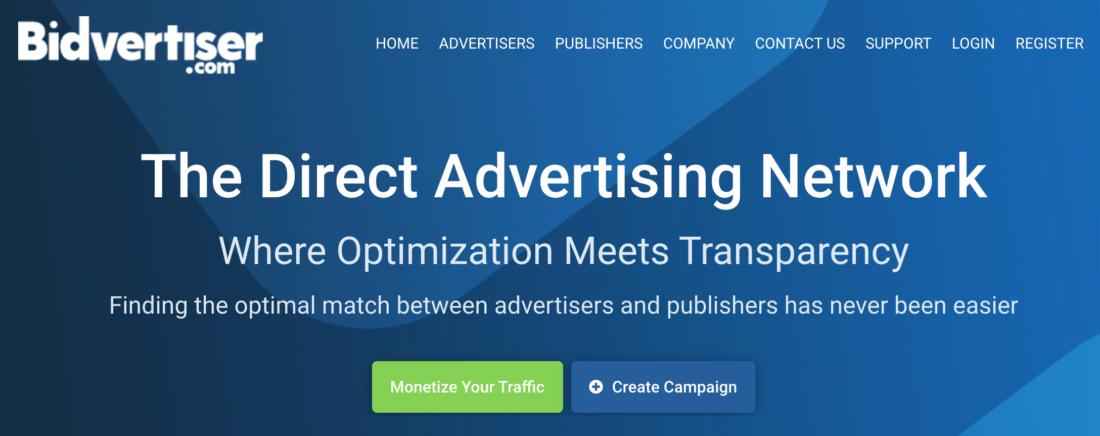 Signup to BidVertiser Advertising Network